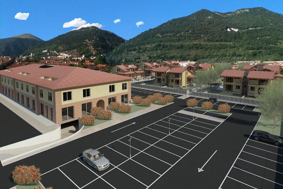Rendering del complesso residenziale visto dal Centro Commerciale
